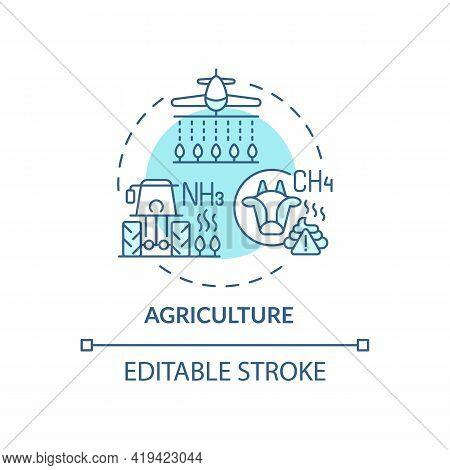 Agriculture Concept Icon. Outdoor Air Pollutant Idea Thin Line Illustration. Pesticides, Fertilizers