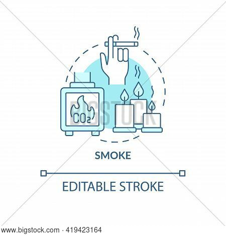 Smoke Concept Icon. Indoor Air Pollution Idea Thin Line Illustration. Releasing Toxic Air Pollutants