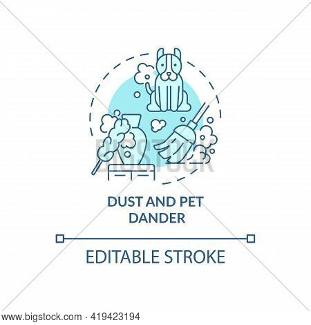 Dust And Pet Dander Concept Icon. Indoor Air Pollution Idea Thin Line Illustration. Allergens. Biolo