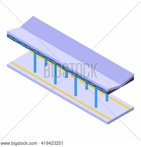Railway Station Icon. Isometric Of Railway Station Vector Icon For Web Design Isolated On White Back