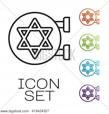 Black Line Jewish Synagogue Building Or Jewish Temple Icon Isolated On White Background. Hebrew Or J