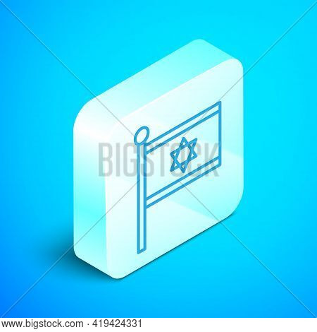 Isometric Line Flag Of Israel Icon Isolated On Blue Background. National Patriotic Symbol. Silver Sq