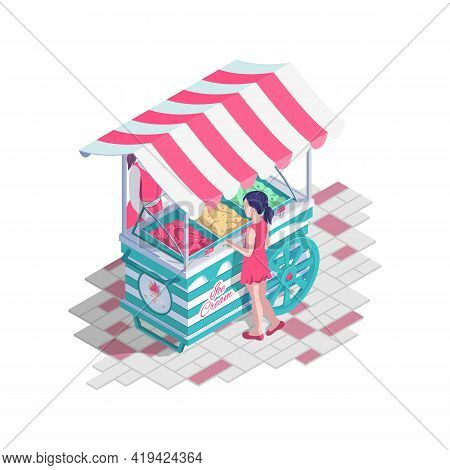 Ice Cream Cart With Awning. Girl Buys Ice Cream On Stand. Summer Sweet Dessert. Street Food Kiosk, D