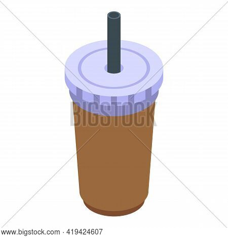 Takeaway Drink Icon. Isometric Of Takeaway Drink Vector Icon For Web Design Isolated On White Backgr