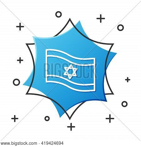 White Line Flag Of Israel Icon Isolated On White Background. National Patriotic Symbol. Blue Hexagon