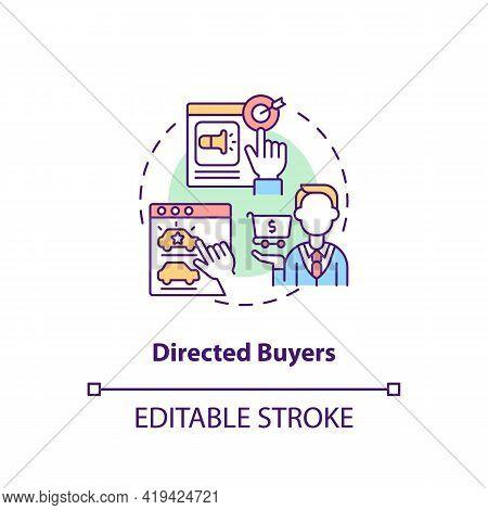 Directed Buyers Concept Icon. Internet Consumer Behavior Idea Thin Line Illustration. Purchasing Pro