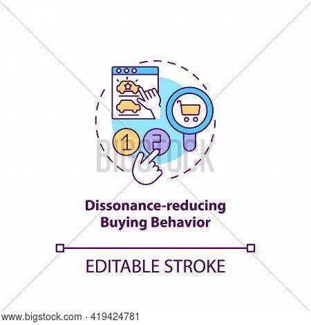 Dissonance-reducing Buying Behavior Concept Icon. Consumer Behavior Type Idea Thin Line Illustration