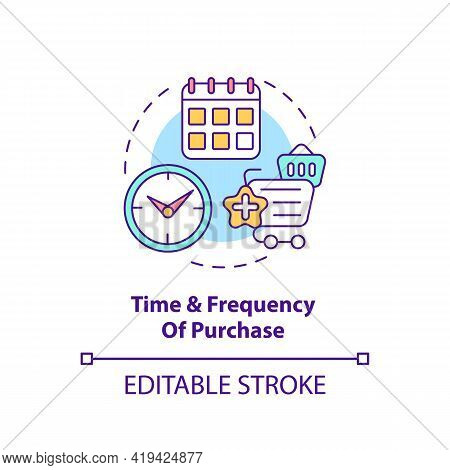 Purchase Time And Frequency Concept Icon. Customer Behavior Pattern Idea Thin Line Illustration. Mak