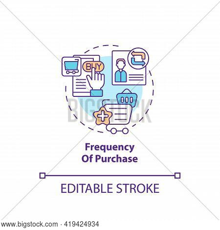 Purchase Frequency Concept Icon. Rfm Model Analysis Idea Thin Line Illustration. Analyzing Consumer