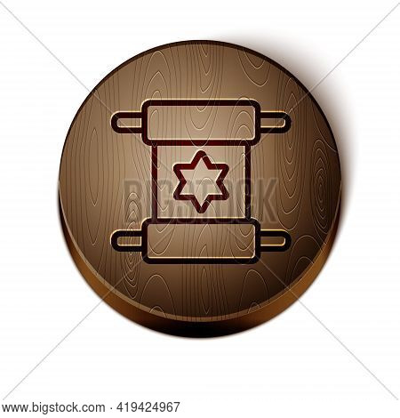 Brown Line Torah Scroll Icon Isolated On White Background. Jewish Torah In Expanded Form. Star Of Da