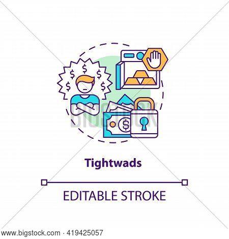 Tightwads Concept Icon. Tight-fisted Consumer Idea Thin Line Illustration. Frugalist. Avoiding Luxur
