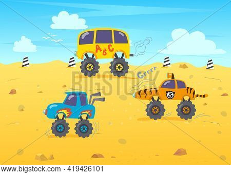 Off-road Monster Truck Racing Illustration. Big Cartoon Custom Cars With Large Tires Or Wheels On Ra