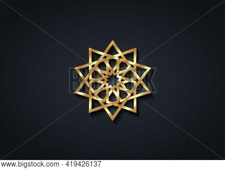 Arabic Decorative Pattern. Islamic Symbol, Gold Logo Design Templates. Arabic Style Emblems For Luxu