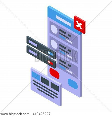 App Interface Icon. Isometric Of App Interface Vector Icon For Web Design Isolated On White Backgrou