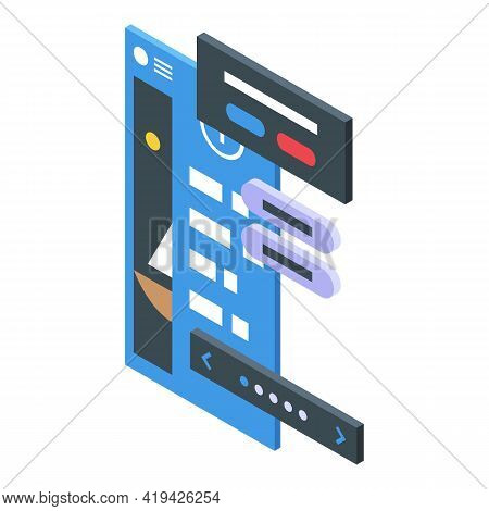 Digital Interface Icon. Isometric Of Digital Interface Vector Icon For Web Design Isolated On White