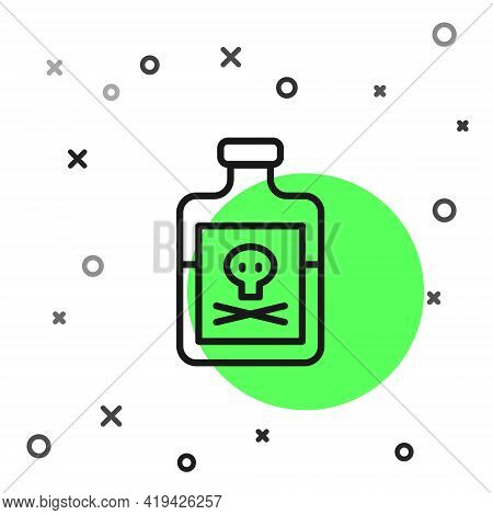 Black Line Poison In Bottle Icon Isolated On White Background. Bottle Of Poison Or Poisonous Chemica