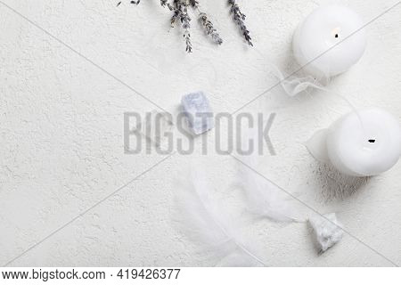 Lavender, Candles And Crystal Minerals On White Background. Magic Rock For Crystal Ritual, Witchcraf