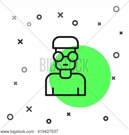 Black Line Nerd Geek Icon Isolated On White Background. Vector