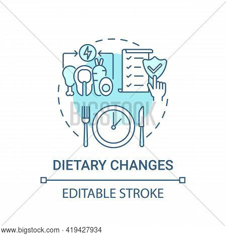 Dietary Changes Blue Concept Icon. Healthy Lifestyle. Eating Program. Nutrient Food. Genetic Disease