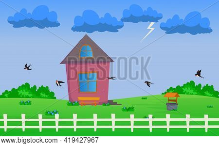 Flock Of Swallows Soaring Low Above Ground Before Thunderstorm. Cartoon Vector Illustration. Flying