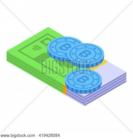 Crypto Money Icon. Isometric Of Crypto Money Vector Icon For Web Design Isolated On White Background