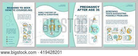 Reasons To Seek Genetic Counseling Brochure Template. Medical Help. Flyer, Booklet, Leaflet Print, C
