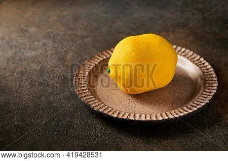Original Dessert Fruit Lemon According To The Idea Of French Confectioners - Cream Based On Creamy M