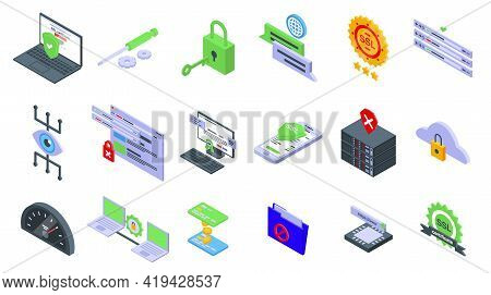 Ssl Certificate Icons Set. Isometric Set Of Ssl Certificate Vector Icons For Web Design Isolated On