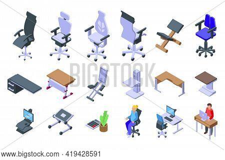Ergonomic Workplace Icons Set. Isometric Set Of Ergonomic Workplace Vector Icons For Web Design Isol