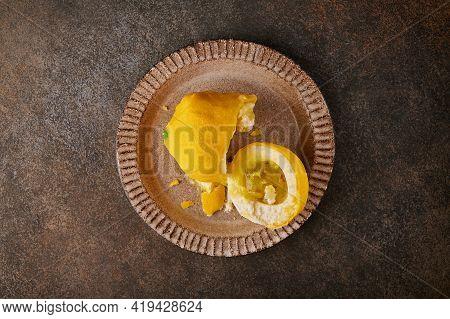 Original Dessert Fruit Lemon According To The Idea Of French Confectioners Broken In Half - Cream Ba