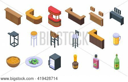 Bar Counter Icons Set. Isometric Set Of Bar Counter Vector Icons For Web Design Isolated On White Ba