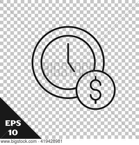 Black Line Time Is Money Icon Isolated On Transparent Background. Money Is Time. Effective Time Mana