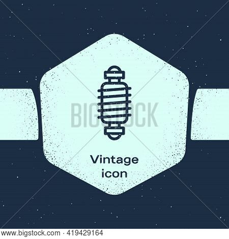 Grunge Line Bicycle Suspension Icon Isolated On Blue Background. Monochrome Vintage Drawing. Vector