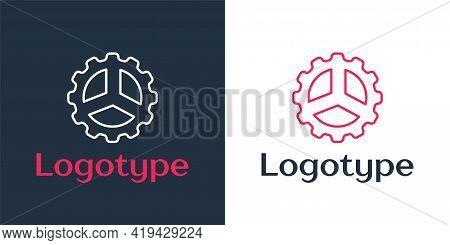 Logotype Line Bicycle Sprocket Crank Icon Isolated On White Background. Logo Design Template Element