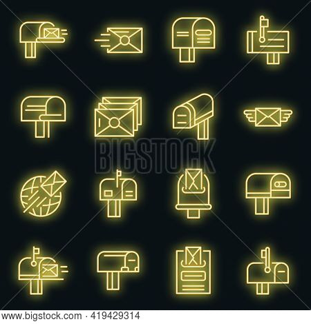 Mailbox Icons Set. Outline Set Of Mailbox Vector Icons Neoncolor On Black