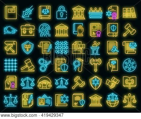 Justice Icons Set. Outline Set Of Justice Vector Icons Neoncolor On Black