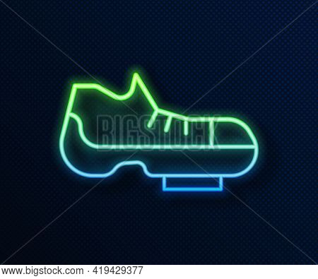 Glowing Neon Line Triathlon Cycling Shoes Icon Isolated On Blue Background. Sport Shoes, Bicycle Sho