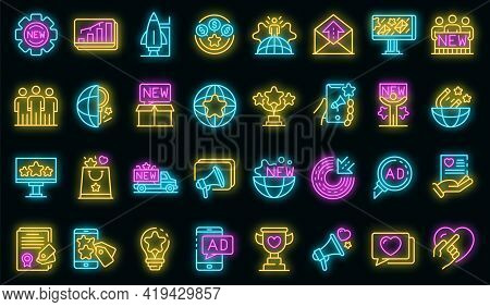 Campaign Icons Set. Outline Set Of Campaign Vector Icons Neoncolor On Black