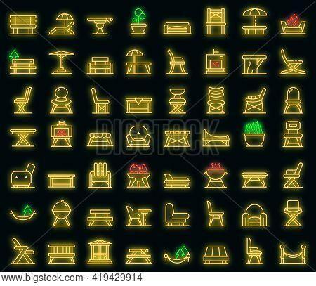 Garden Furniture Icons Set. Outline Set Of Garden Furniture Vector Icons Neoncolor On Black