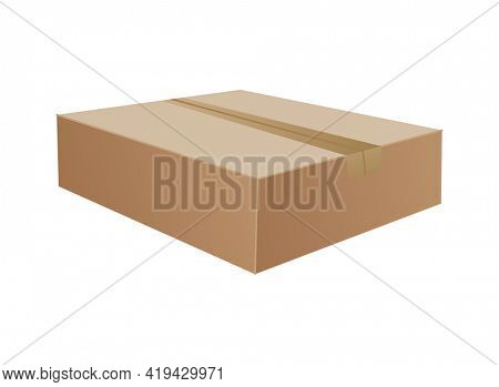Box. Cardboard box mockup. Mail container. Brown recycling cardboard delivery box or postal parcel packaging, realistic  illustration isolated on white background
