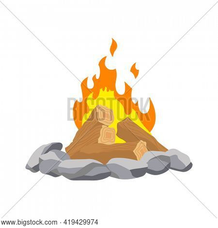 Fireplace campfire. Burning fire travel and adventure symbol.  bonfire or woodfire in cartoon flat style. A tourist bonfire in the stone border