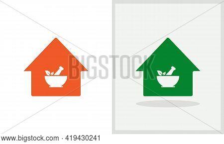 Ayurveda House Logo Design. Medical Logo With House Concept Vector. Medical And Home Logo Design