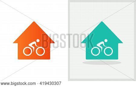 Biker Logo Design. House Logo With Cycle Concept Vector. Cycle Man And Home Logo Design