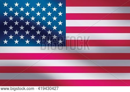 Background Waving In The Wind American Flag. Background For Patriotic National Design.