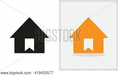 Bookmark House Logo Design. Home Logo With Bookmark Concept Vector. Bookmark And Home Logo Design