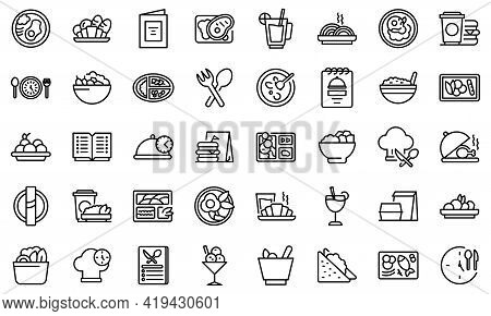 Business Lunch Icons Set. Outline Set Of Business Lunch Vector Icons For Web Design Isolated On Whit