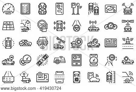 Autonomous Car Icons Set. Outline Set Of Autonomous Car Vector Icons For Web Design Isolated On Whit