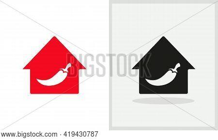 Chili House Logo Design. Home Logo With Hot Chili Concept Vector. Chili And Home Logo Design