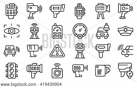 Speed Radar Icons Set. Outline Set Of Speed Radar Vector Icons For Web Design Isolated On White Back