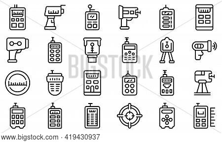 Laser Meter Icons Set. Outline Set Of Laser Meter Vector Icons For Web Design Isolated On White Back